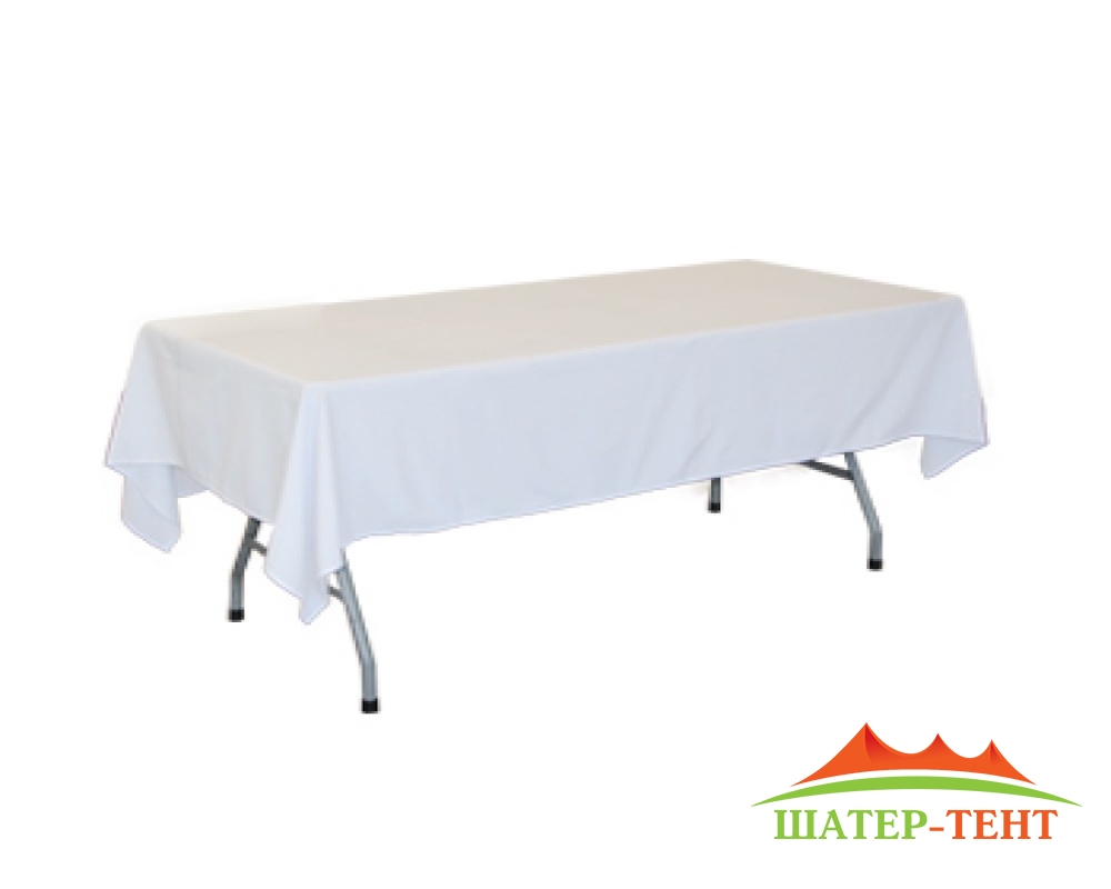 The tablecloth on straight. table